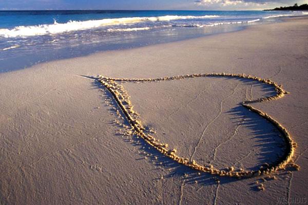 Coração na praia - Retirada do Google